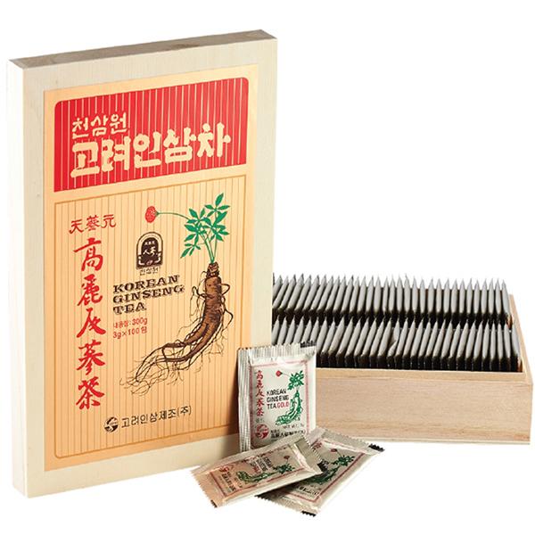 Trà hồng sâm Hàn Quốc hộp gỗ 100 gói 1